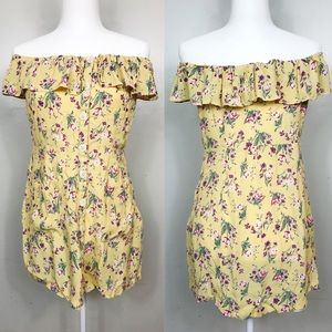 Topshop Yellow Floral Off the Shoulder Dress
